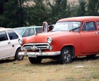 在Playa台尔Este古巴的被恢复的汽车 免版税库存照片
