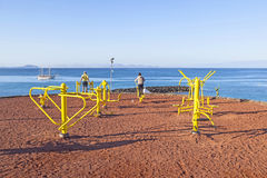 在Playa布朗卡的健身斑点在 库存照片