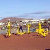 在Playa布朗卡,兰萨罗特岛的健身斑点 库存图片