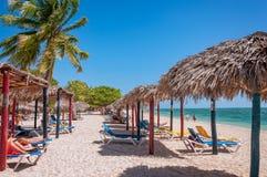 在Playa肘的热带感受在古巴的加勒比岛 免版税库存图片