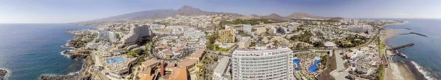 在Playa de美洲日报, Tene美好的鸟瞰图的日落  库存图片