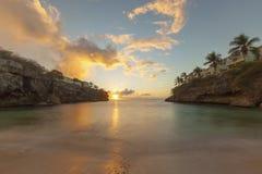 在Playa Lagun,库拉索岛的日落 库存照片