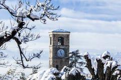 在Pliemont、意大利、多雪的结构树和尖顶的冬天 免版税库存图片