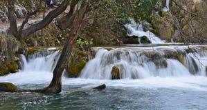 在Plitvice湖国家公园的Watterfals, Croati 图库摄影