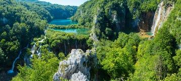 Plitvice湖国家公园(克罗地亚)全景。 免版税库存照片