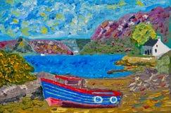在Plockton的小船: 在画布的油 免版税库存图片
