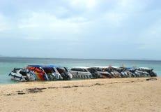 在PODA海岛海滩的高速小船在KRABI泰国 库存照片