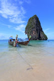 在Poda海岛的LongTail小船 免版税库存图片