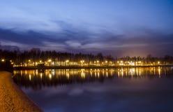 在Pogoria湖的日出 免版税库存图片