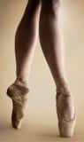在pointe的芭蕾舞女演员行程 库存图片
