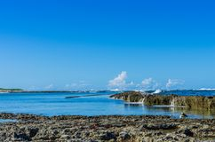 在Pointe des大别墅附近的海岸,瓜德罗普 库存图片