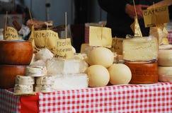 在Pollice Verde的乳酪摊位 免版税库存照片