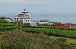 在Ponta Ferraria的灯塔 库存图片