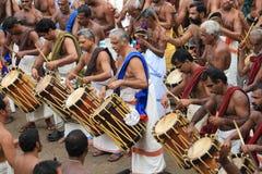 在Pooram节日的撞击声performannce 库存图片