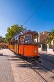 在Port de Soller的电车轨道 免版税库存照片