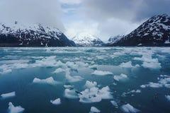 在Portage湖的熔化的冰在阿拉斯加 免版税库存图片