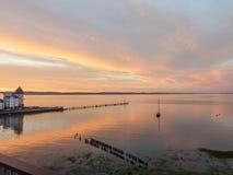 在Portishead跳船的日落在黄昏 库存图片