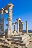 在poseidon寺庙附近的雅典希腊 库存图片