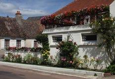 在Pouilly苏尔卢瓦尔河,伯根地,法国开花被盖的房子 免版税库存图片