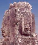 在Prasat Bayon寺庙,柬埔寨的巨型石面孔 库存照片