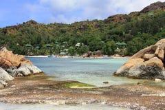 Praslin海岛,塞舌尔群岛, Cote d'Or海滩 免版税库存照片