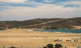 在Prasonisi,罗得岛,希腊的海滩 免版税库存照片