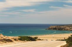 在Prasonisi,罗得岛,希腊的海滩 免版税图库摄影
