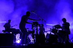 在Primavera声音2015年节日的北美驯鹿电子音乐带生活表现 库存图片