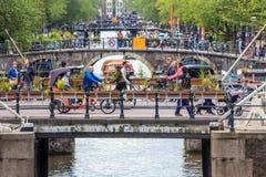 在Prinsengracht的阿姆斯特丹桥梁 免版税库存照片