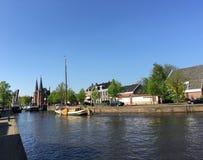 在Prinsengracht的Skutsje 免版税库存照片