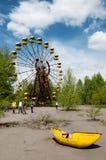 在Pripyat镇弗累斯大转轮被放弃的游乐园 免版税库存图片