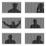 在prision集合例证的人剪影 库存图片
