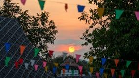 在Prommitr电影厂的日落在北碧,泰国 免版税图库摄影