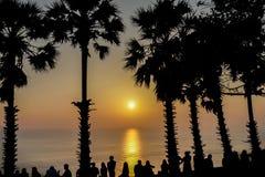 在Promthep海角的日落在普吉岛 库存照片