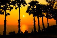 在Promthep海角的日落 Promthep海角是最普遍的观点在普吉岛 免版税库存照片