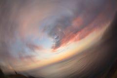 在Promthep海角观点的美好的抽象日落 免版税库存照片