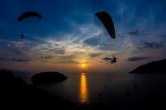 在Promthep海角,普吉岛的日落 免版税库存图片