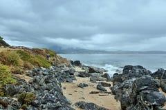 在Propriano附近的可西嘉岛海海岸 库存照片