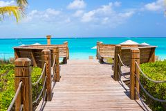 在Providenciales海岛上的美好的热带风景在土耳其人和凯科斯,加勒比 免版税库存照片