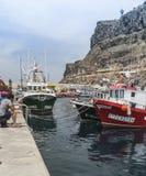 在Puerto在大加那利岛的de Mogan的码头区 免版税库存照片