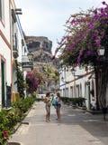 在Puerto在大加那利岛的de Mogan的花卉大道 免版税图库摄影