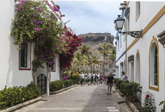 在Puerto在大加那利岛的de Mogan的风景大道 库存照片