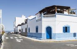 在Puerto de在大加那利岛的las Nieves的五颜六色的大厦, 免版税图库摄影