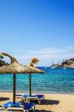 在Puerto de索勒的海滩在马略卡 库存图片