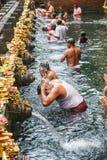 在Pura Tirta Empul,印度寺庙,巴厘岛的圣洁泉水 库存图片
