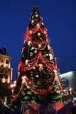 在Pushkinskaya广场的圣诞树在莫斯科 免版税库存照片