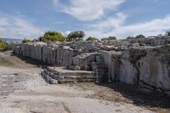 在Pynx的报告人的平台,小山在雅典中部,希腊 库存图片