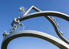 在Pyrenees†雕塑细节的†环法自行车赛 库存照片