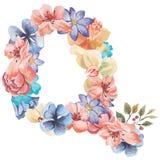 在Q水彩花,被隔绝手拉在白色背景,婚姻的设计上写字,英语字母表 免版税库存照片