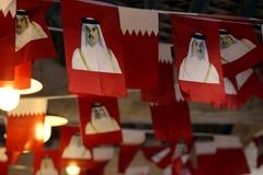 在Qatari souq的效忠者旗子 免版税库存图片